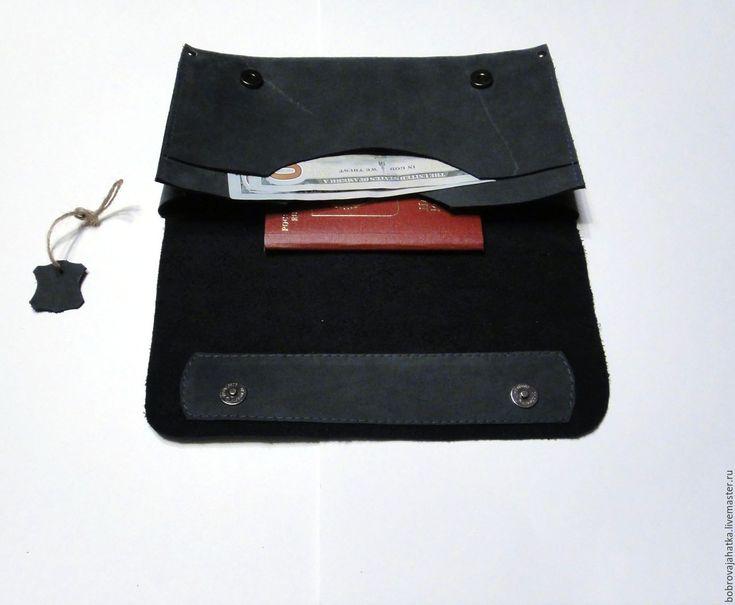 Купить Кожаный клатч кожа Холдер Серый дым Минимализм конверт Подарок женщине