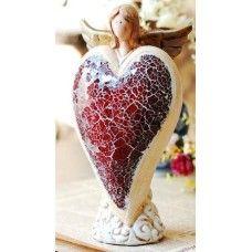 Ceramic Angel - Red Heart