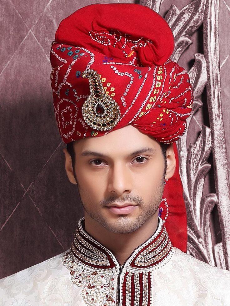 Conventional touch wedding turban. Item Code: WT8119 http://www.bharatplaza.com/accessories/turbans.html