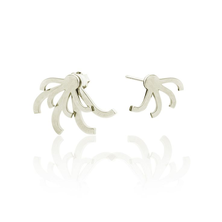 Leonore earrings - silver Asymmetric ear jackets by SMITH/GREY