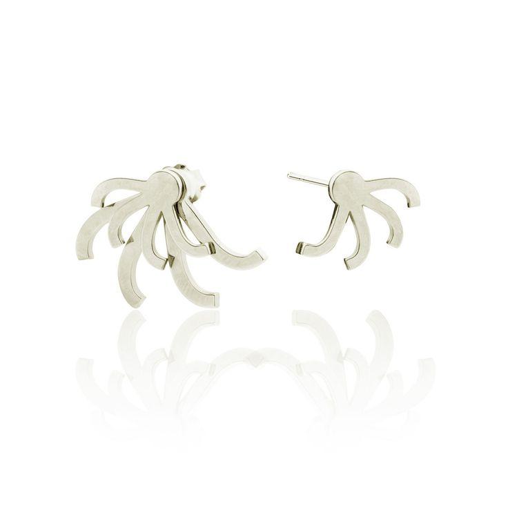 Leonore earrings - silver Asymmetric ear jackets by SMITH/GREY
