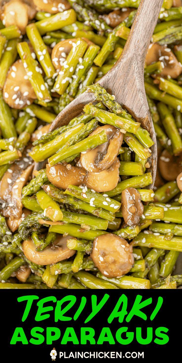 Teriyaki Asparagus and Mushrooms – our favorite asparagus recipe. SO delicious!!…