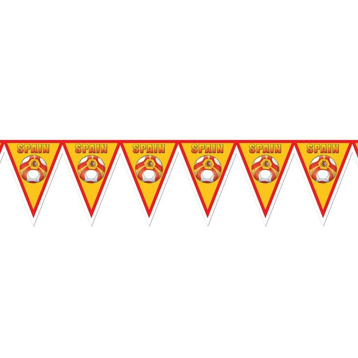 """Pack of 6 Red, Yellow and White """"Spain"""" Soccer Themed Pennant Banner Party Decorations 7.4'"""