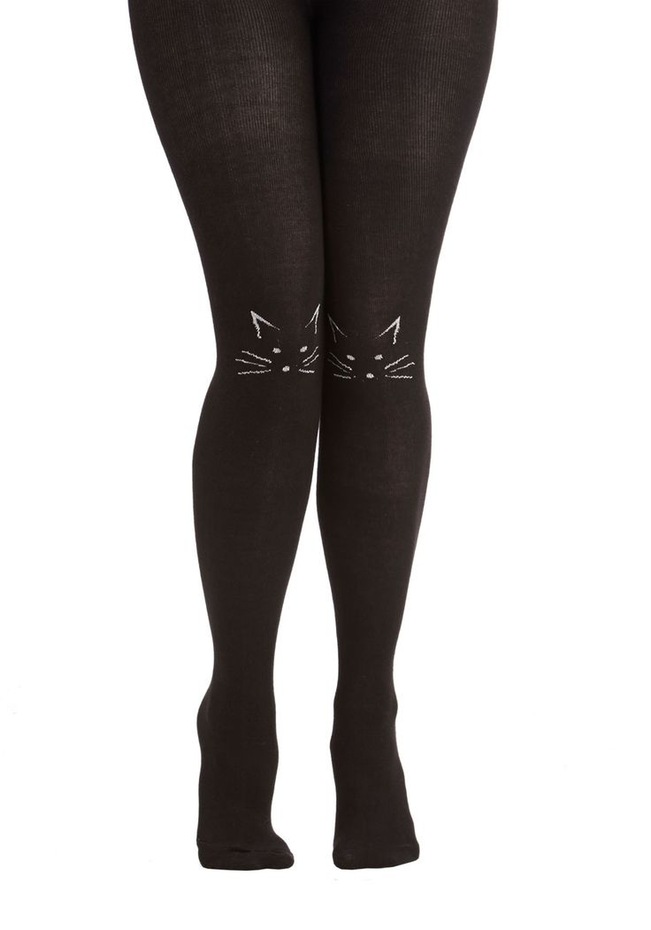I'll Stand by Mew Tights. Find a cozy companion in these whimsical black tights. #black #modcloth