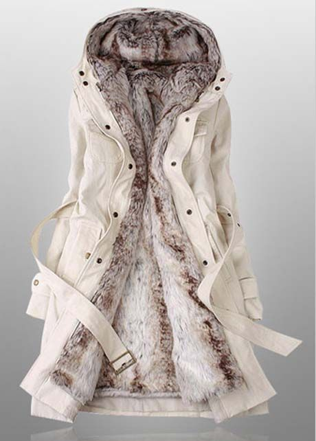 This looks sooooo cozy!!!! Winter Essential Hooded Collar Long Sleeve Coat Ivory/Beige