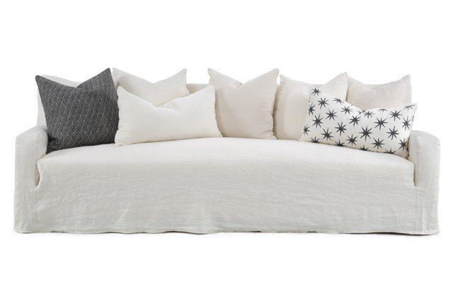"""Emery 99"""" Linen Slipcover Sofa, Oyster"""