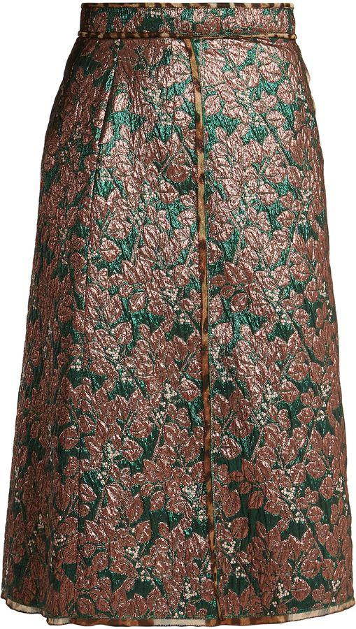 DOLCE & GABBANA High-rise leaf-brocade midi skirt