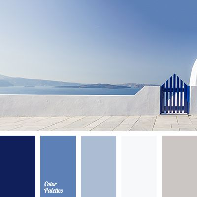 This palette is associated with purity, peace, stability, responsibility. Shades of dark blue relaxes and soothes. Gray colour works as neutral. This colou