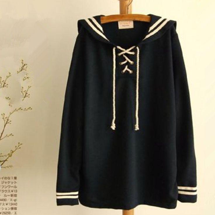 Anime cuello de marinero uniforme Lolita dulce sudadera de la mujer traje japonés Kawaii sudaderas con capucha lindas mujeres jerseys Blusa en Sudaderas de Moda y Complementos Mujer en AliExpress.com | Alibaba Group