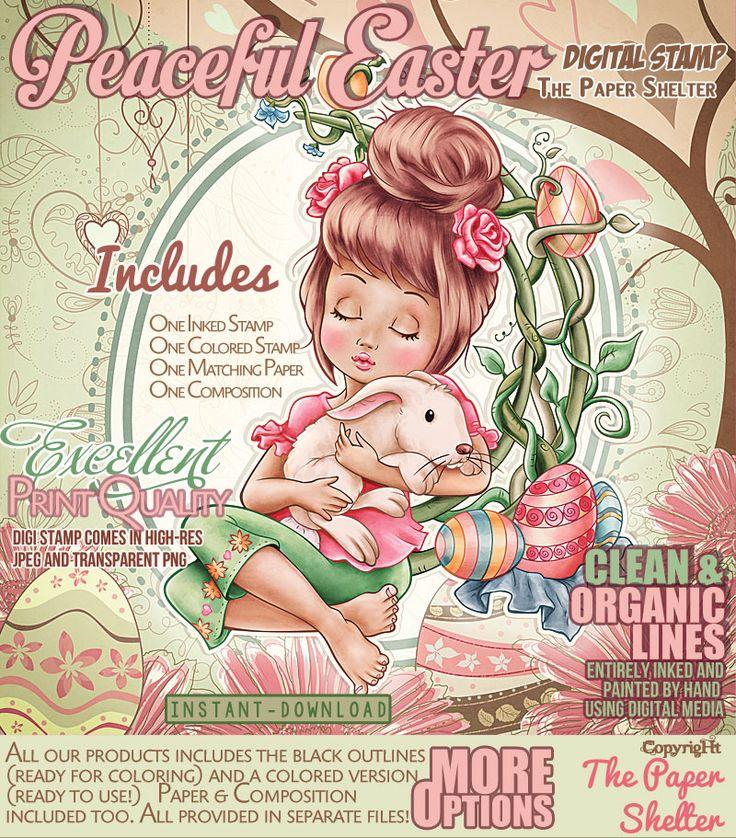 Peaceful Easter - Digital Stamp