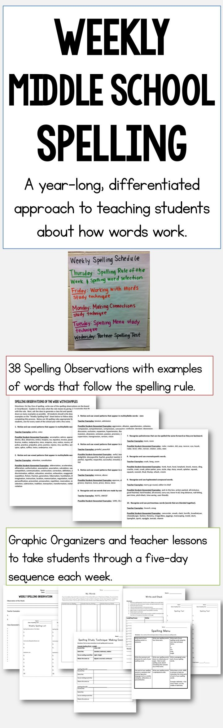 Weekly Middle School Spelling program with 38 spelling principles to teach students (one per week), options for differentiation, and detailed lessons and graphic organizers for each week's activities. ($)