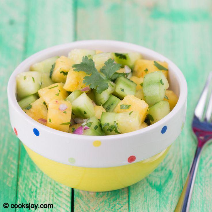 Cucumber Pineapple salad - how refreshing! #salad #fruit #veggies #summer