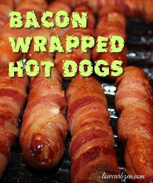 Bacon Wrapped Hot Dogs - These are even better than they look and sooooooo easy. Low Carb Dinner idea and Delicious because #BACON!