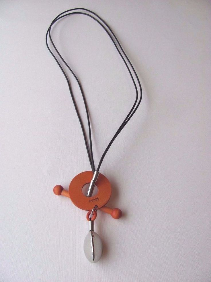 Aarikka Finland Orange Wooden Necklace with Silver coloured metal decorations #Aarikka