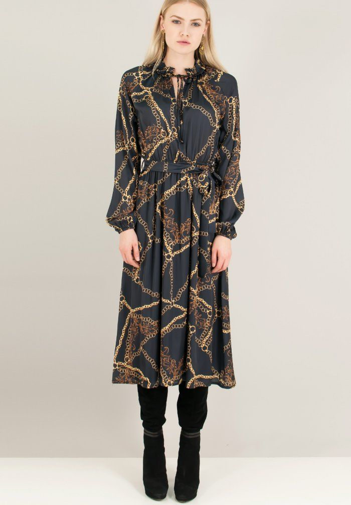 ef637b3b90e Σατέν φόρεμα με τύπωμα αλυσίδες - ZIC ZAC | Shop this Look | Dresses ...