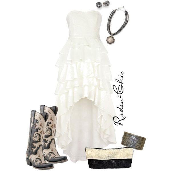 """White Liar"" by rodeo-chic on Polyvore, high low dress with inlay Lucchese cowboy boots @lucchese1883 , western, Wedding, Country"