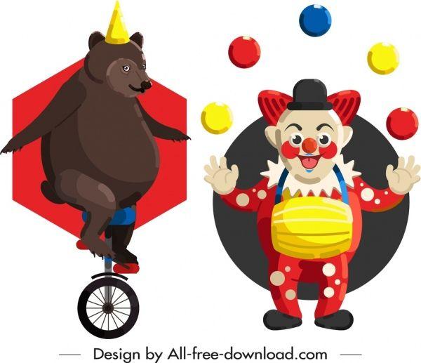 circus elements performing bear clown icons clip art clip art art