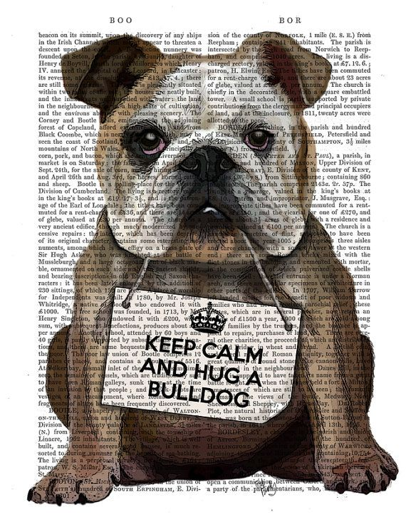 English Bulldog Hug a Bulldog Wall Art Art Giclee by FabFunky, $12.00