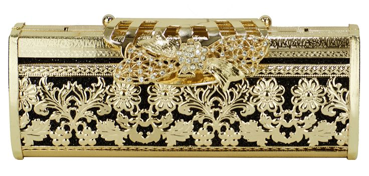 Bolsa Clutch Dourada e Preta, estilo retrô. #bolsaclutch #bolsadourada #douradoepreto #bolsadefesta #clutchdourada #clutch #chademulher