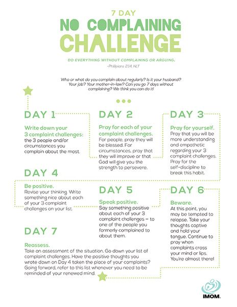 Are you up for the 7 day no complaining challenge? Take the challenge and see if you can exchange complaining for kindness.