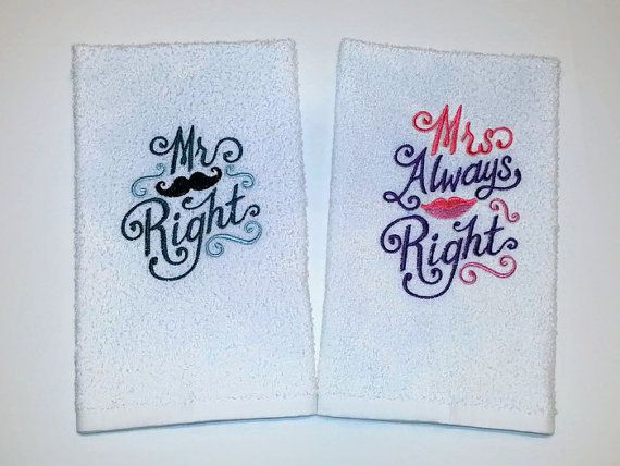 His Hers Embroidered Towel Set Mr Right By TwistedStitches13 TowelsMachine ProjectCouple GiftsTowel SetWedding