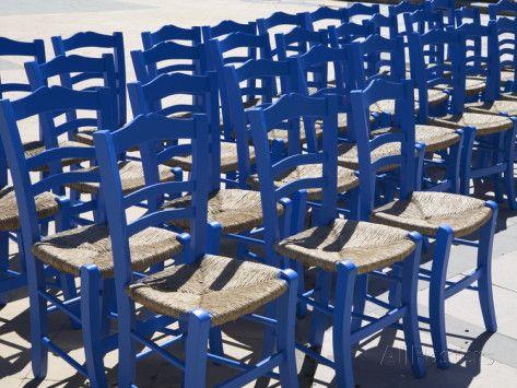 Blue Greek Restaurant Chairs, Crete, Greek Islands, Greece, Europe