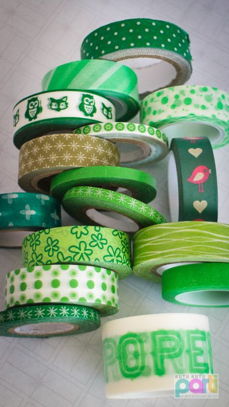 Sorted by color - GREEN Kağıt Bant, Washi Tape - Yeşiller
