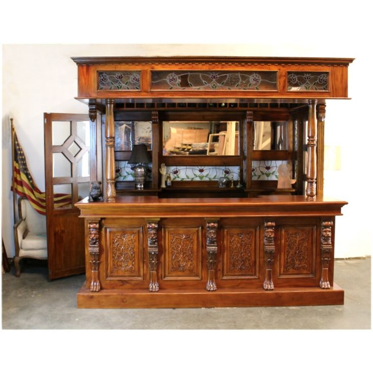 Tiffany Glass Canopy Bar Tavern Pub Furniture With Wine Racks Lion Crest Antique Pub Furniture Bars For Home Bar Furniture