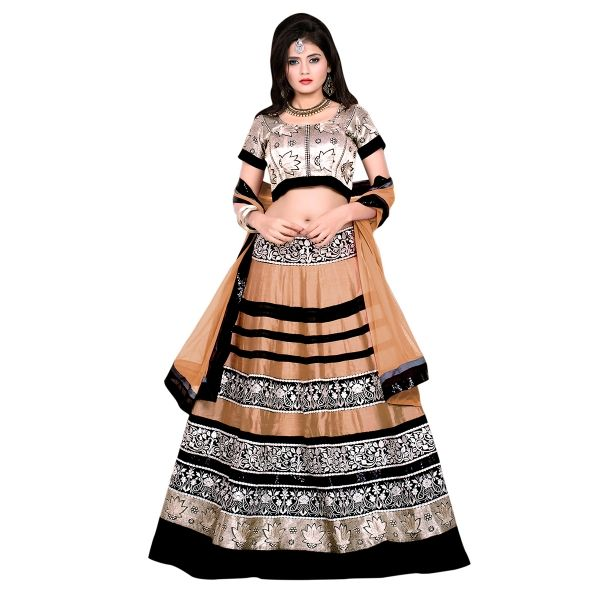 Buy Marvelous Embroidered Gold Banglori Silk Circular Lehenga Choli Online at cheap prices from Shopkio.com: India`s best online shoping site
