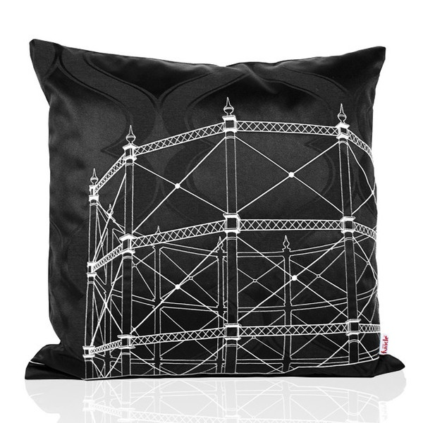 Black textile with design embroidered in white thread - black backside. MADE IN NORWAY - Limited edition, 44 x 44 cm.