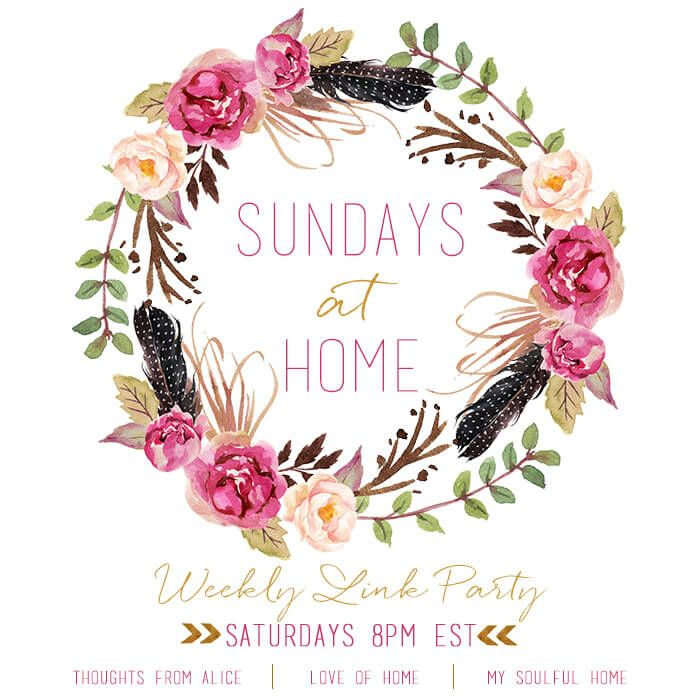 Sundays at Home link party logo http://mysoulfulhome.com