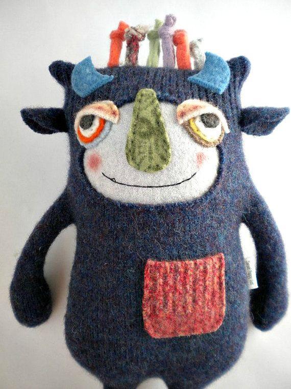Sweater Monster Stuffed Animal Repurposed by sweetpoppycat on Etsy