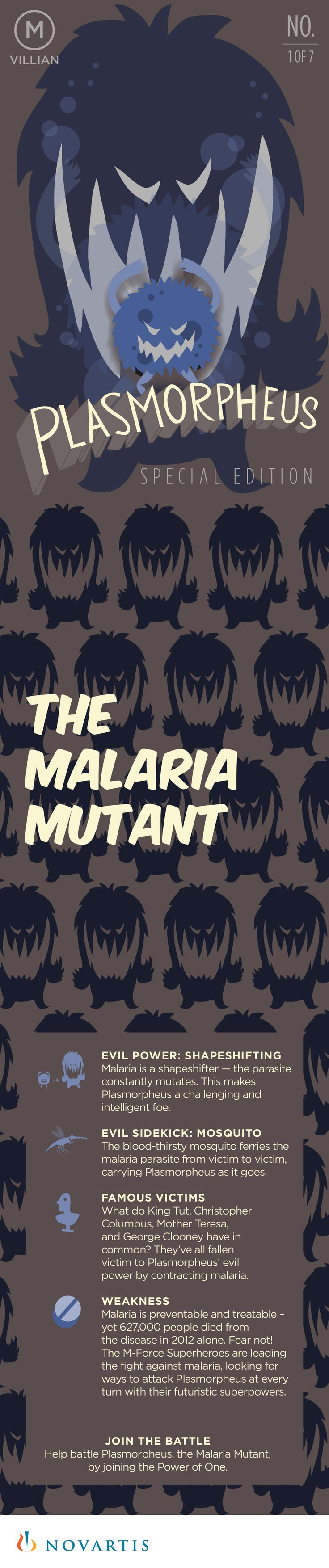 Illustrated M-Force Trading Card: PLASMORPHEUS  |  One dollar can help win one battle against the Malaria Mutant by providing treatment for a child with malaria. www.malarianomore.org #MalariaNoMore  |  Learn more about malaria at: http://www.who.int/mediacentre/factsheets/fs094/en/