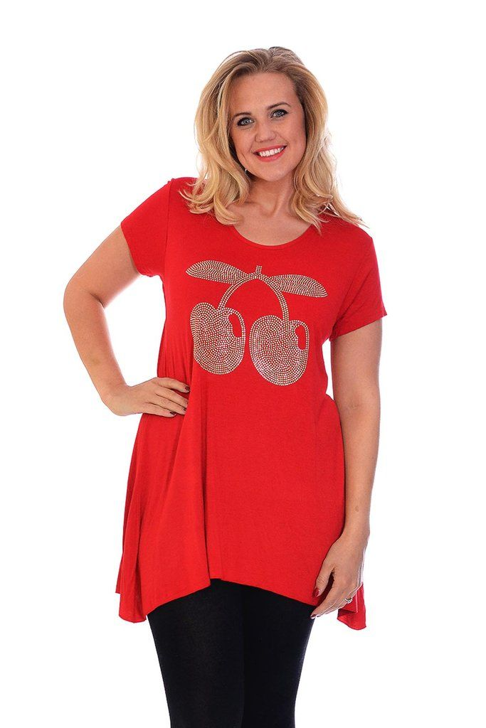 Cute Casual Cherry Stud Plus Size Tunic Top - Red