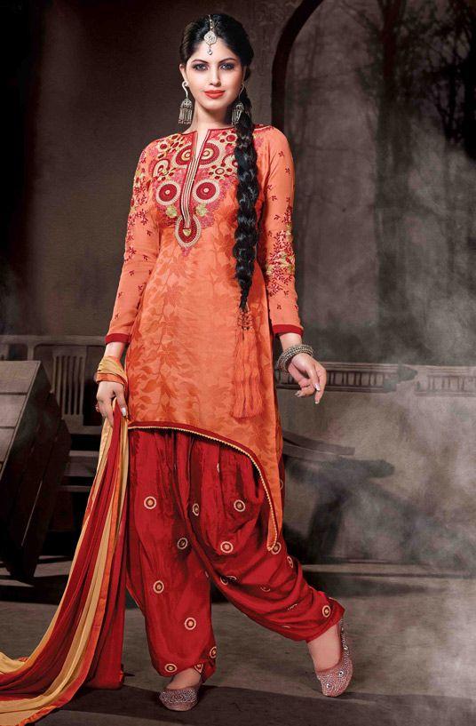 USD 35.77 Orange Cotton Silk Punjabi Suit 48012