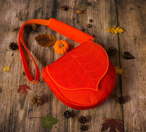 Orange  Leaf Crossbody Purse Womens handbag with zipper