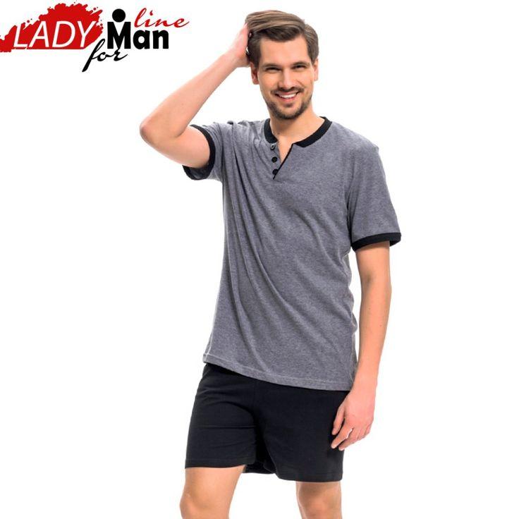 Poze Pijamale Barbati Maneca Scurta Pantalon Scurt, Material Bumbac 60%, Culoare Gri/Negru, Model 'Gray & Black For Man', Brand DN NightWear, Pijamale Barbatesti Polonia