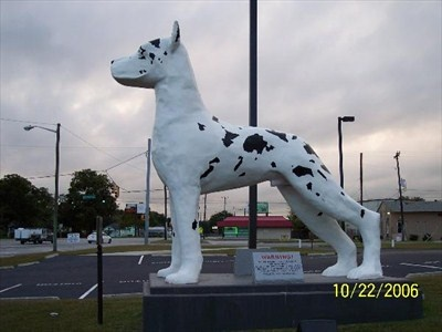 This 20 foot tall fiberglass Great Dane stands in front of the Great Dane Trailers facility. The Great Dane has been the company's symbol since 1931. This statue was built in 1960 and was originally installed in Orlando, FL. It was knocked over in 1979 during Hurricane David and again in 1980 by a tornado. The statue was knocked over again in the late 1990s by a hit-and-run driver. When the Orlando facility closed in 2001, the statue was moved here.