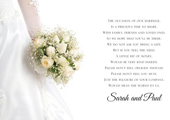Wedding Gift Money Wording: Use These New Poem Cards To Ask For Money As A Wedding