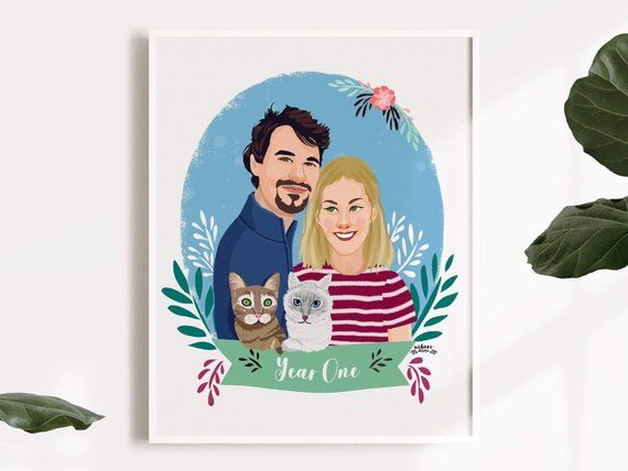 Family Portrait Wedding Anniversary Gift Husband Birthday Gift Couple Gifts Personalized Custom Couple Portrait With Pets Unique