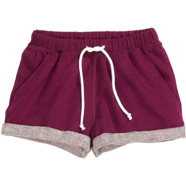H&M Sweatshirt shorts (16 BRL) ❤ liked on Polyvore featuring shorts, bottoms, pants, pajamas and plum
