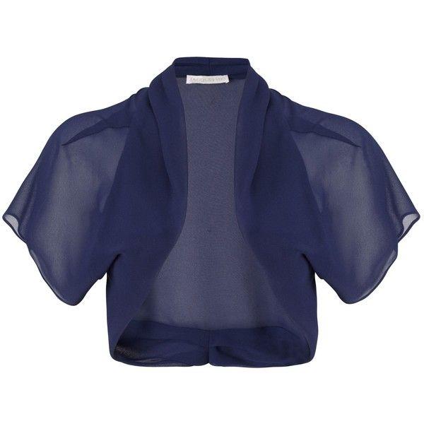 Jacques Vert Chiffon Shrug ($69) ❤ liked on Polyvore featuring outerwear, navy, women, blue shrug, navy blue shrug cardigan, cardigan shrug, chiffon shrug and shrug cardigan