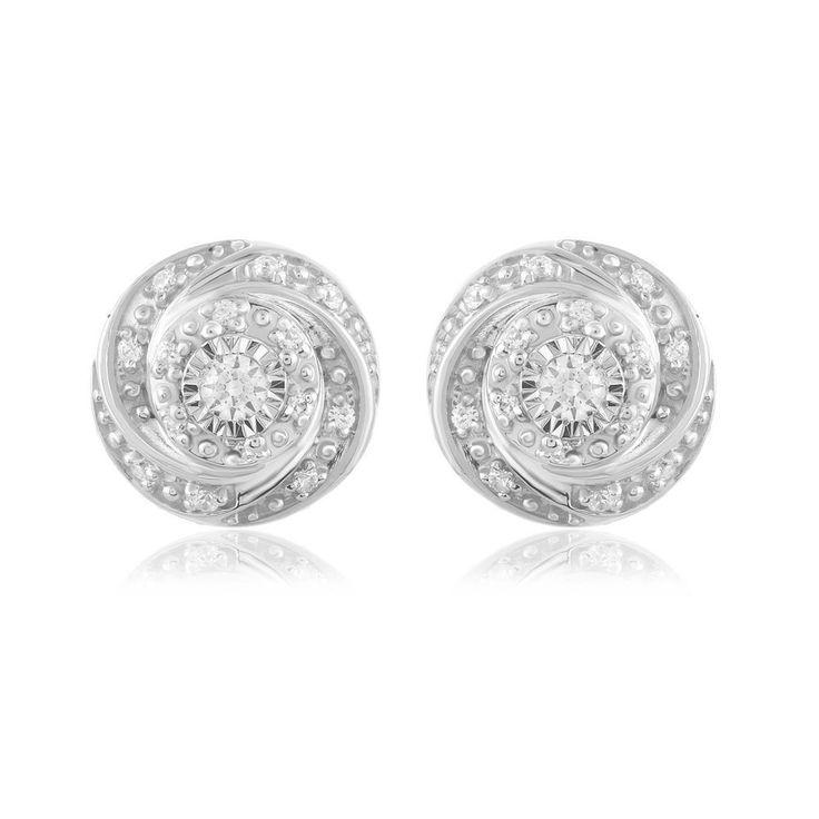 Angara Enhanced Blue and White Diamond Twin Circle Hoop Earrings(1.3mm) rHfuo6Cqr