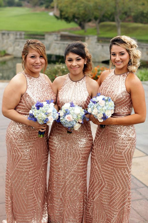Maids of Honor in rose gold sequence dresses.
