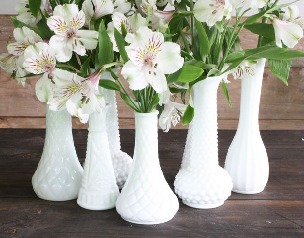 alstroemeria (white & pale pink) in milk glass vases for dessert table