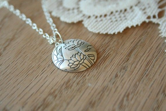 The Sterling Silver Lotus Pendant Necklace by TwoLittleDoves