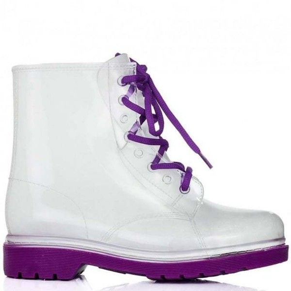 AIR Festival Wellies Clear Jelly Lace Up Ankle Rain Boots Purple ($25) ❤ liked on Polyvore featuring shoes, boots, ankle booties, jelly rain boots, wellington boots, purple boots, lace-up booties and clear booties