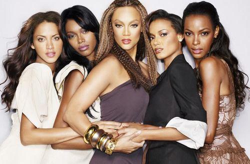 Beautiful black Supermodels: Noémie Lenoir, Jessica White, Tyra Banks, Selita Ebanks, and Quiana Grant