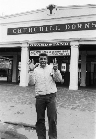 Muhammad Ali in front of Louisville's Churchill Downs, site of the famed Kentucky Derby, in 1963 (Moneta Sleet, Jr./Ebony Collection)