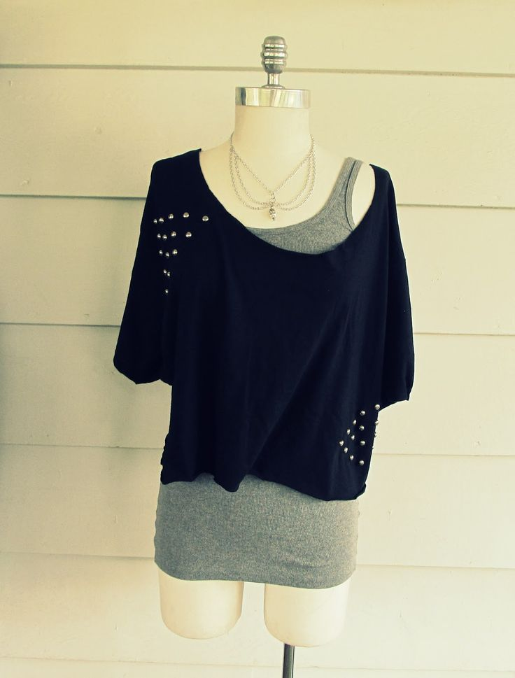 Wobisobi: Off the Shoulder, Triangle Stud Tee Shirt, DIY This is adorable